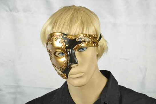 Fantasma Phantom masquerade mask in gold on male model face