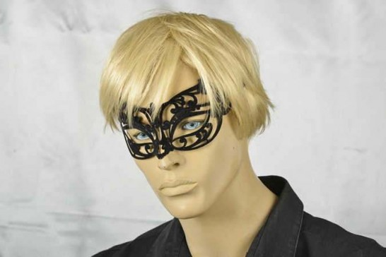 flock metal masquerade mask with strass on male model