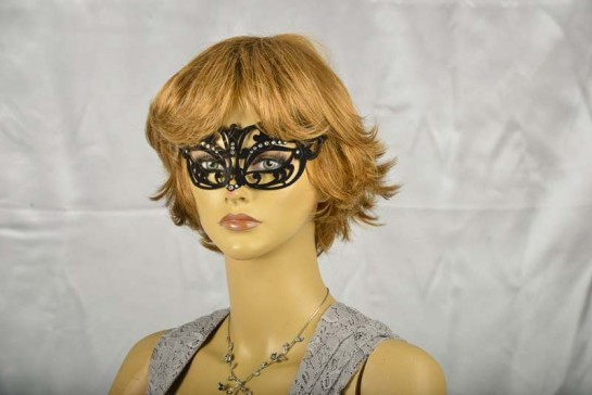 masquerade ball mask flock metal mask on female face