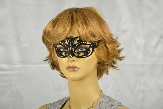 flock metal masquerade mask with strass on female model