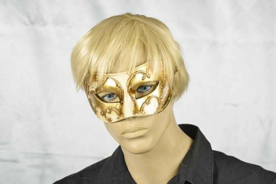 masquerade ball mask Larga Gold on male face