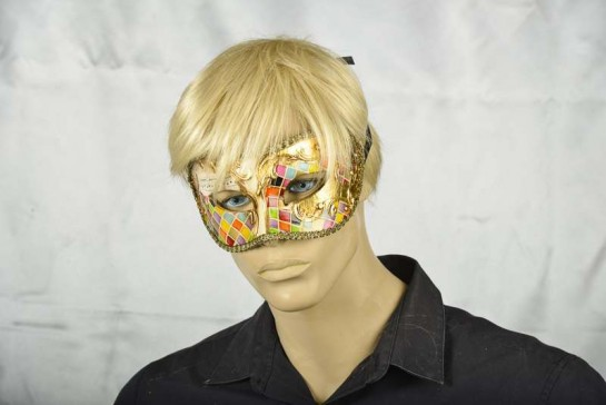 masquerade ball mask Larga Mosaic gold on male face