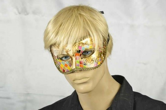 masquerade ball mask Colombina mosaic on male face