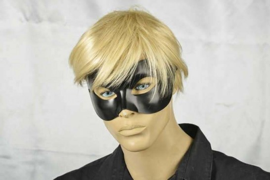 masquerade ball mask leather Colombina on male model