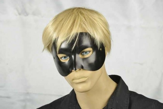 masquerade ball mask black leather Opera on male face