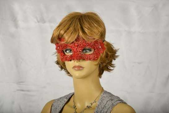 lace macrame ball mask on female model face