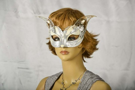 White and silver cat Venetian mask with metal ears