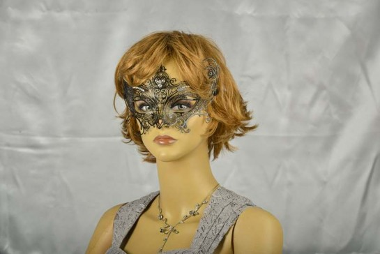 luxury lace metal mask in black on female face