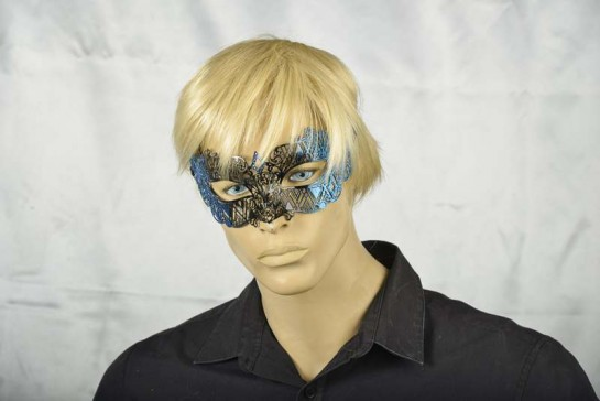 Blue and Black Rumba mask on model