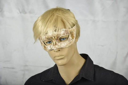 Antiqued Cream Budget Masquerade Masks on mans face