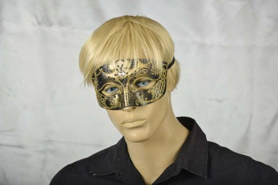 Venetian mask for man - Tomboy Gold on mans face