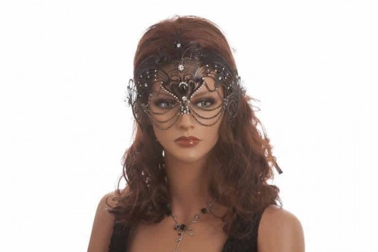 luxury lace metal mask shown on model