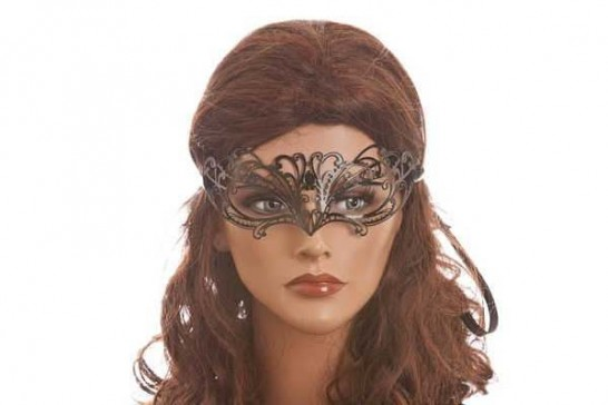 petite laser cut metal masquerade mask on female model face