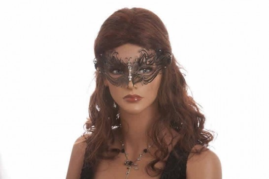 filigree metal lace mask shown on model