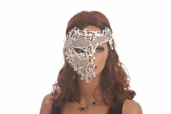 white Fantasma Dell Opera - King or Queen Luxury Filigree Metal Venetian Mask on womans face