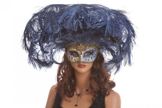 Large feather carnival mask shown on female model face