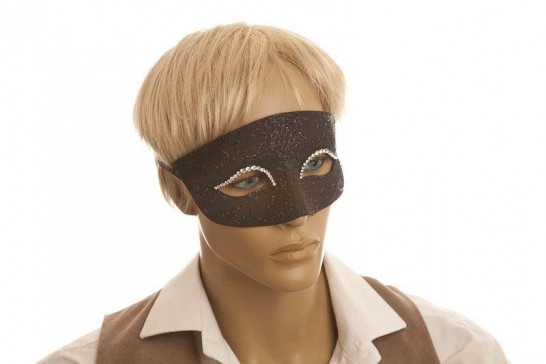 Venetian masquerade ball mask with crystal eyes in black on male face