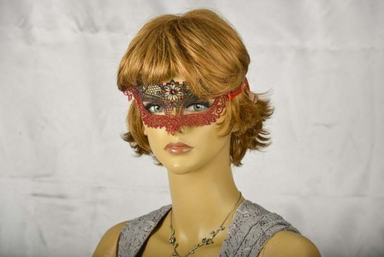 Red Lace Ball mask on female face
