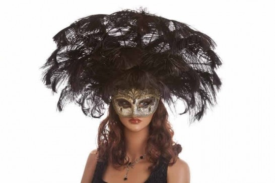 Large feather carnival mask shown on model
