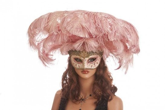 Full feathered Rio carnival mask for Venetian ball in gold and Rio on female face