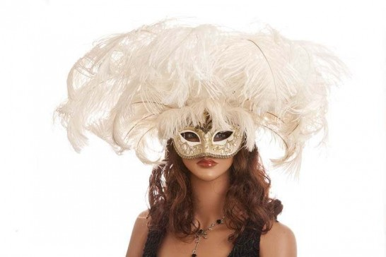 Full feathered Rio carnival mask for Venetian ball in gold and white on model face