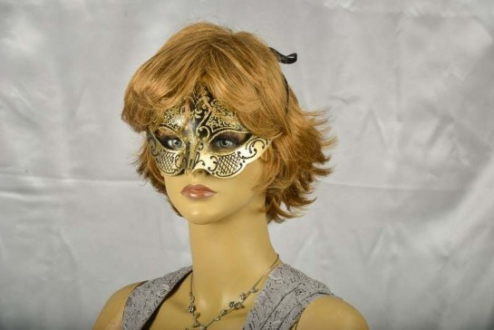 masquerade ball mask Giglio Iris on face of female