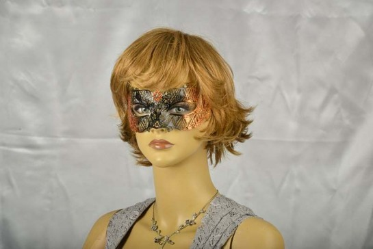 masquerade ball mask laser cut lace on female face