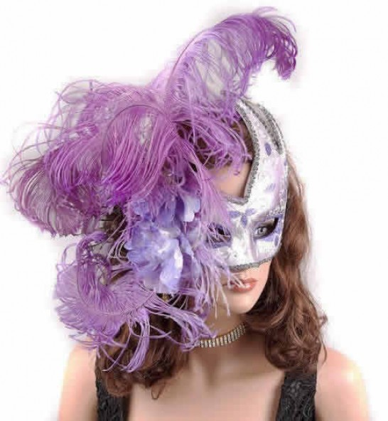 Silver Venetian Swan Masks with feathers in purple on female face