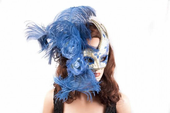 Gold Venetian Swan Masks with feathers in blue on female face