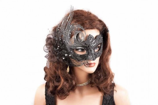 Luxury Venetian mask with metal detail shown on model