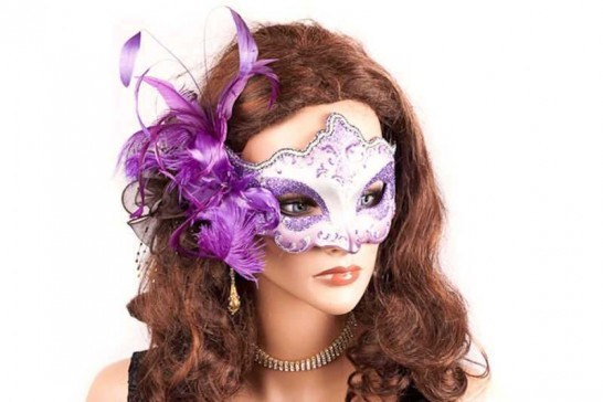 side feather masquerade mask on female model face