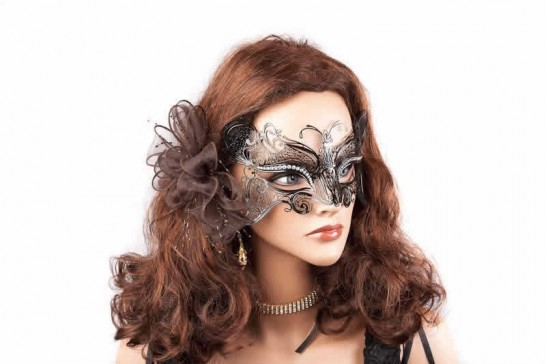 lace metal butterfly mask shown on model