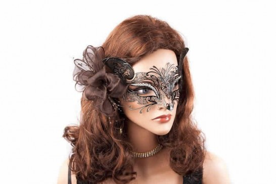 black Luxury Filigree Metal Venetian Cat Mask with Crystals