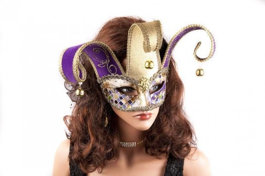 masquerade ball mask Colombina Jester Mosaic gold on female model face