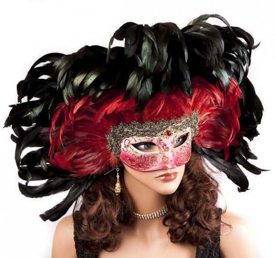 Moulin Rouge feather Mardi Gras mask on female face