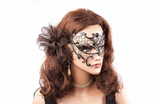 luxury lace masquerade mask shown on model