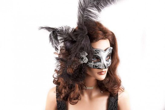 Side Feather Mask on female Model face