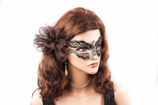 lace mask for glasses shown on model