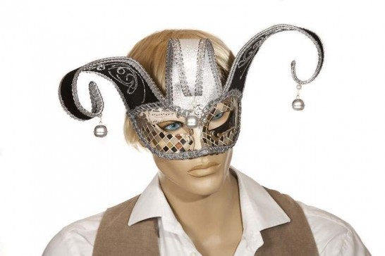 masquerade ball mask Colombina Jester Mosaic silver on male model face