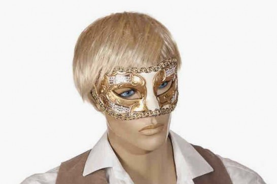 masquerade ball mask with music Larga Melody on male face