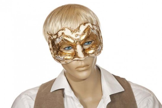 Joker Melody - Half Face Joker Masquerade Masks with Musical Notes in cream and gold on mans face