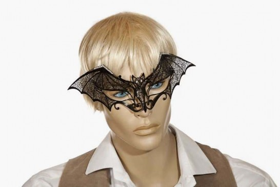 bat masquerade mask for Halloween on male face