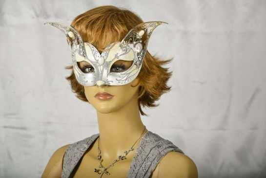 white and silver cat Venetian mask with metal ears on model