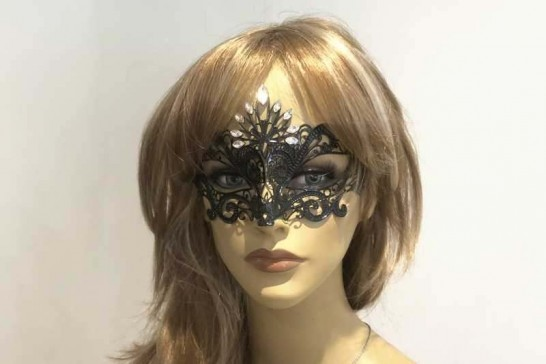 Pavone luxury metal masquerade mask on female face