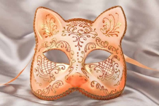 Peach gold Cat shaped masquerade mask