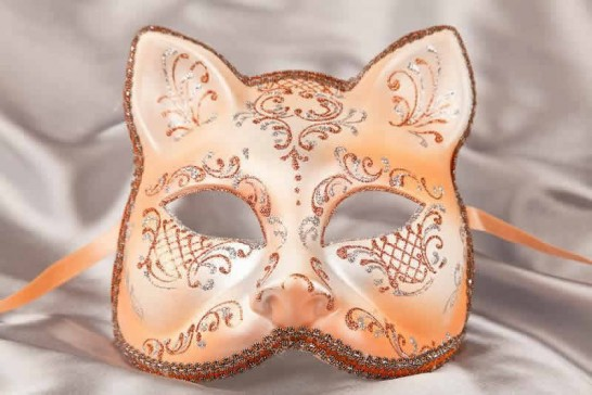 Peach Silver Cat Mask for Animal Masquerading