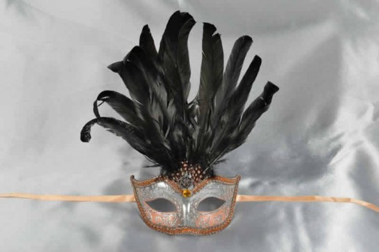 Peach womens feathered mask