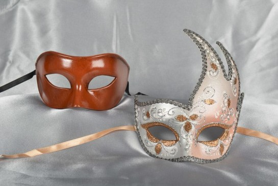 Couples masquerade masks in peach and silver