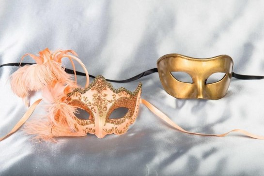 peach gold couples masquerade ball masks