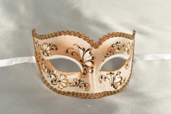Peach Semplice Fiore - Womens Gold Trim Sweetheart Mask